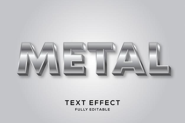 Efecto de texto de metal plateado brillante