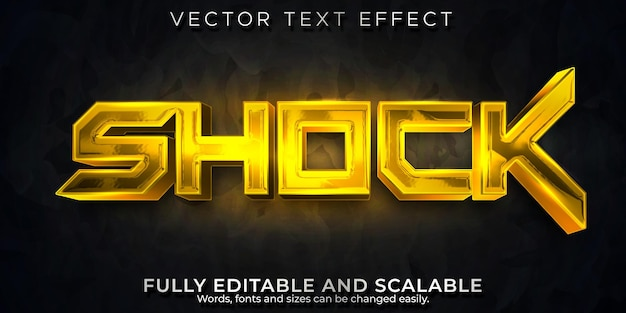 Efecto de texto metálico de choque, futuro editable y estilo de texto cibernético