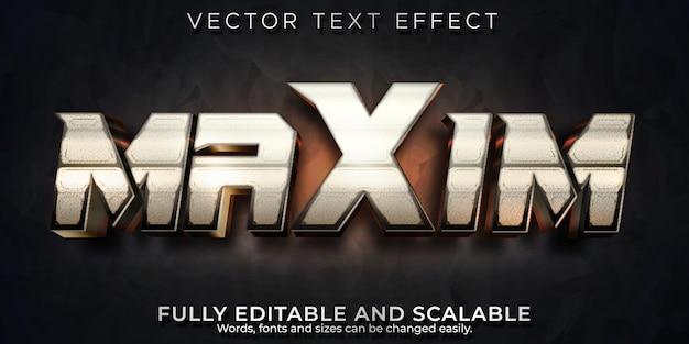 Efecto de texto metálico, cine editable y estilo de texto de juegos.