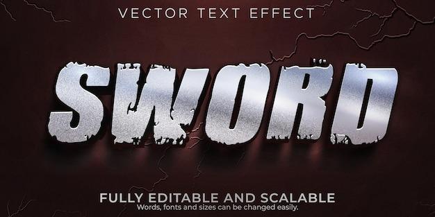 Efecto de texto metálico espada; estilo de texto editable de guerrero y caballero