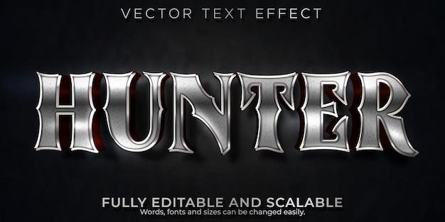 Efecto de texto metálico hunter, estilo de texto brillante y guerrero editable