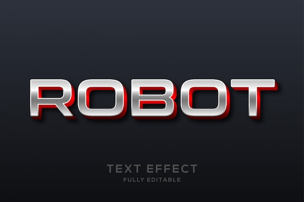 Efecto de texto metálico moderno futurista