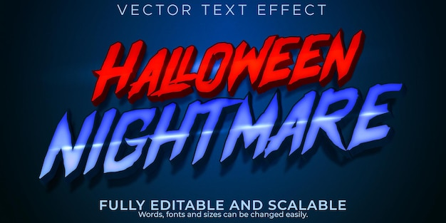 Efecto de texto de miedo de halloween, estilo de texto de terror editable y pesadilla