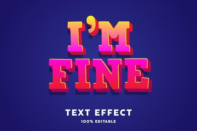 Efecto de texto de moda degradado rojo amarillo negrita 3d