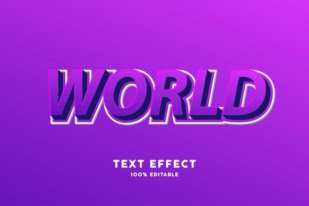 Efecto de texto moderno púrpura 3d