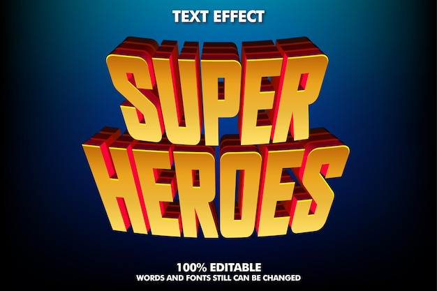 Efecto de texto moderno para el título de héroes texto cinematográfico effecf