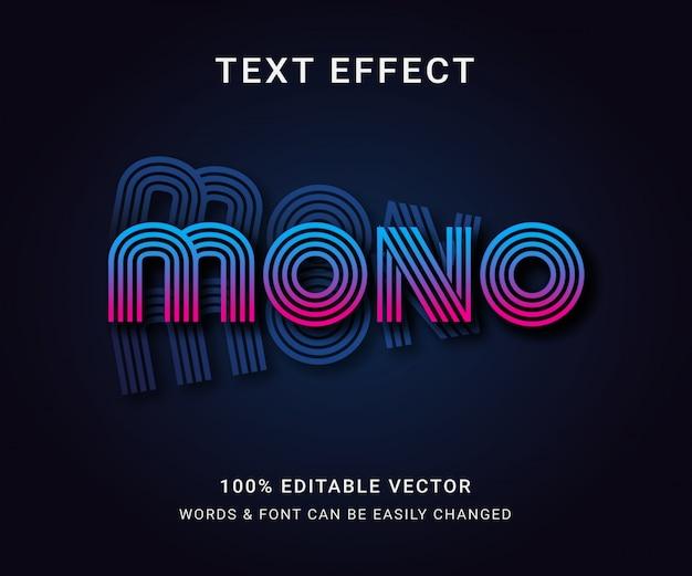 Efecto de texto mono editable completo con estilo moderno