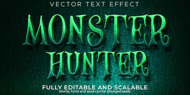 Efecto de texto monster hunter, horror editable y estilo de texto aterrador