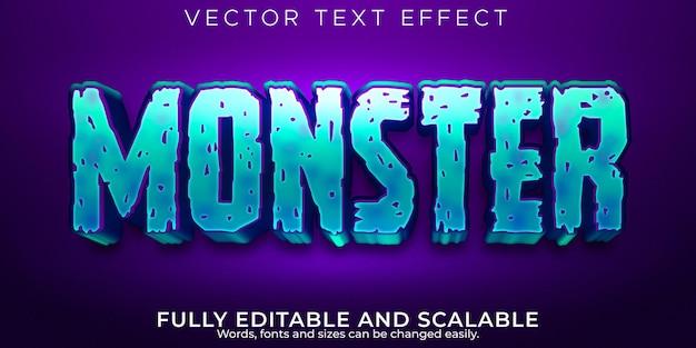 Efecto de texto de monstruo, dibujos animados editables y estilo de texto cómico
