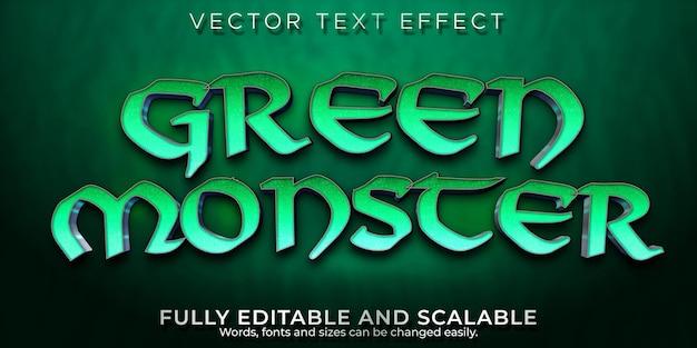Efecto de texto monstruo duende, diablo editable y estilo de texto aterrador
