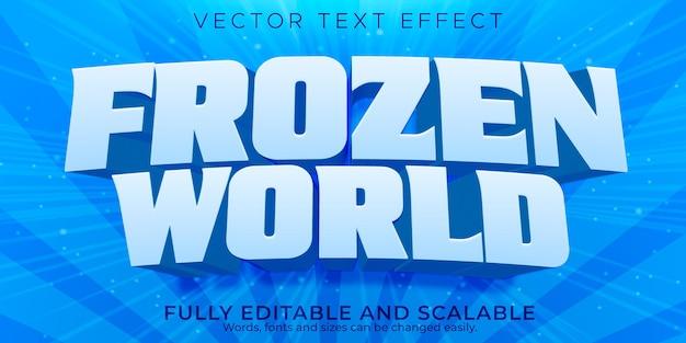 Efecto de texto del mundo congelado, hielo editable y estilo de texto frío