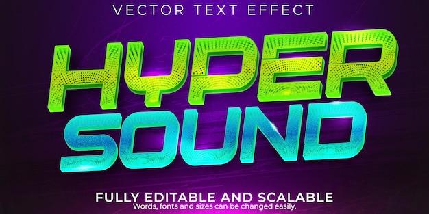 Efecto de texto de música de sonido, barra editable y estilo de texto de club