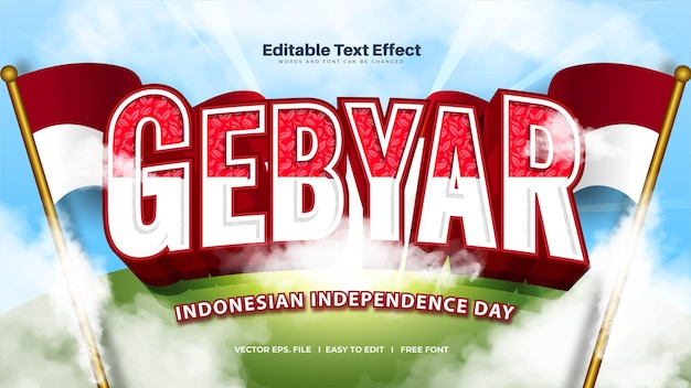 Efecto de texto en negrita gebyar: es la celebración del día de la independencia de indonesia