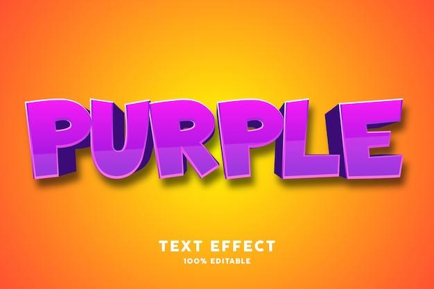 Efecto de texto en negrita sólido púrpura