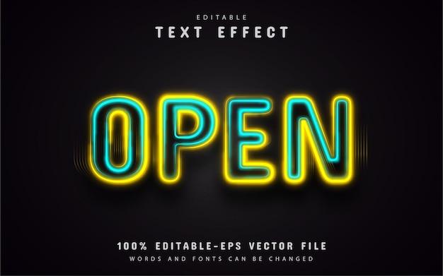 Efecto de texto de neón abierto editable