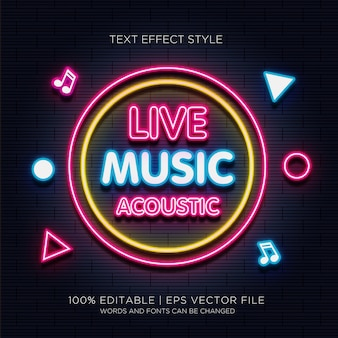 Efecto de texto de neón acústico de música en vivo