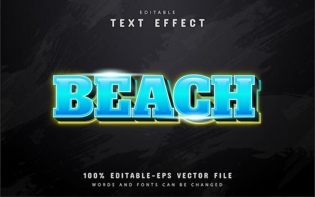 Efecto de texto de neón azul playa
