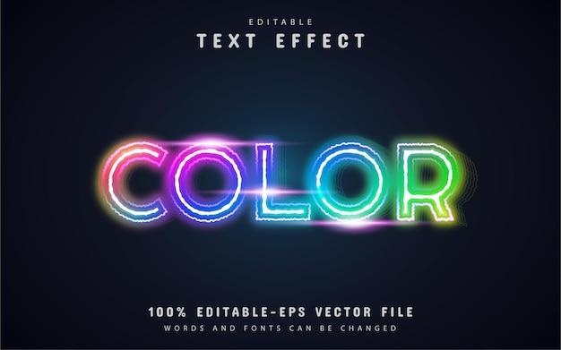 Efecto de texto de neón colorido