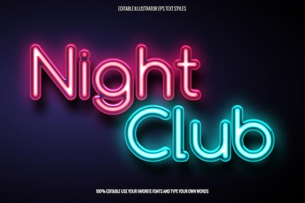 Efecto de texto de neón para el diseño relacionado con el club nocturno