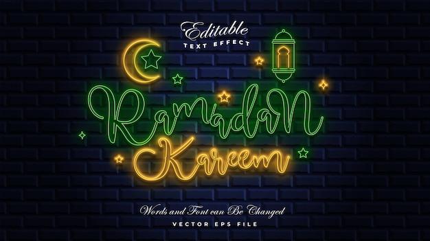 Efecto de texto de neón ramadán kareem