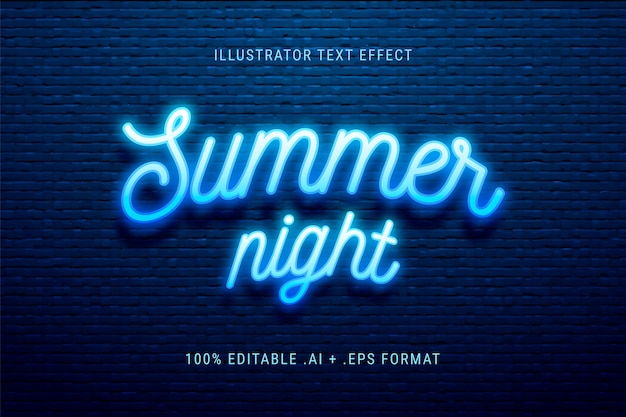 Efecto de texto noche de verano