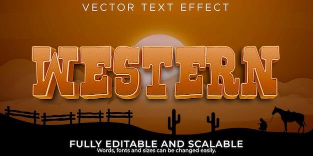 Efecto de texto occidental, vaquero editable y estilo de texto salvaje