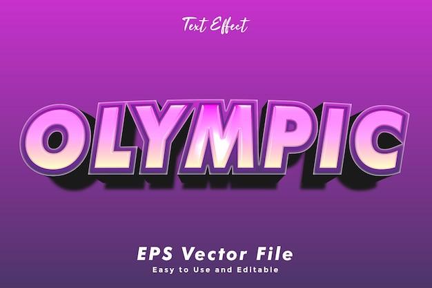 Efecto de texto olímpico. editable y fácil de usar. efecto tipográfico