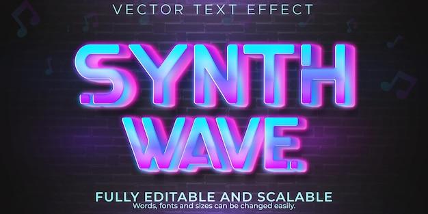 Efecto de texto de onda de sintetizador de música, estilo de texto editable retro y neón