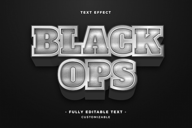 Efecto de texto de operaciones negras