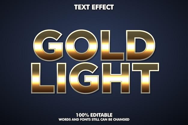 Efecto de texto de oro metálico, estilo de alfabeto de oro brillante