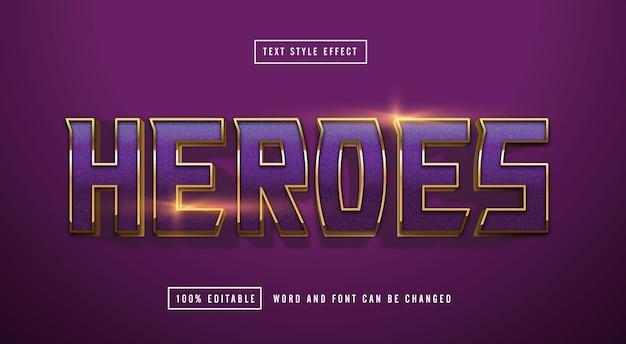Efecto de texto de oro púrpura editable