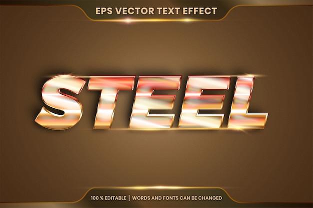 Efecto de texto en palabras de acero 3d, estilos de fuente tema editable combinación de color dorado degradado de metal realista con concepto de luz de destello