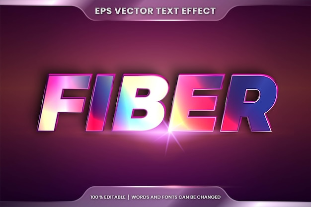 Efecto de texto en palabras de fibra 3d, estilos de fuente editables.