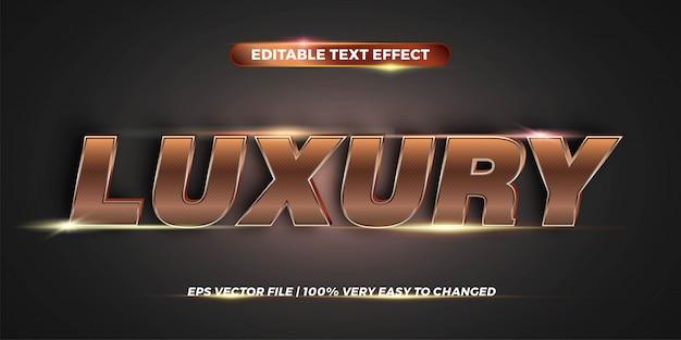 Efecto de texto en palabras de lujo tema de efecto de texto concepto de color dorado metal editable