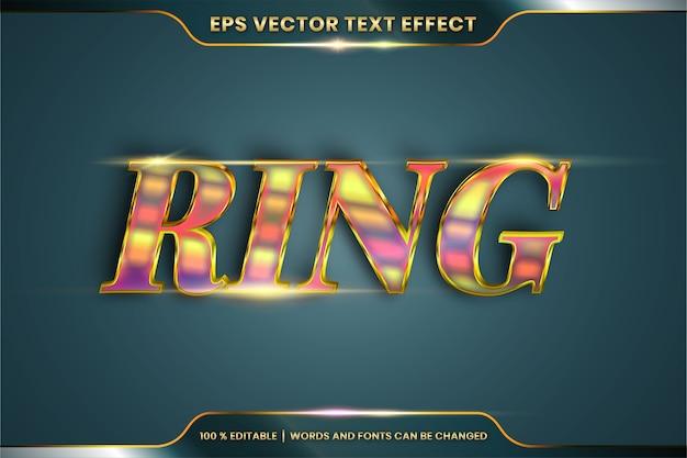Efecto de texto en palabras de oro de anillo 3d, tema de estilos de fuente combinación de color dorado degradado de metal realista editable con concepto de luz de destello