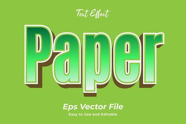 Efecto de texto papel editable y fácil de usar vector premium