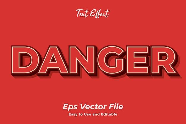 Efecto de texto peligro editable y fácil de usar vector premium