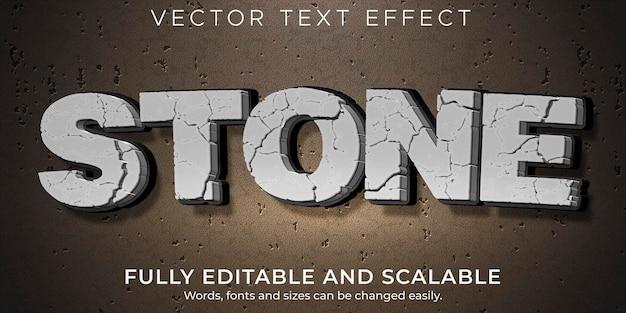 Efecto de texto de piedra agrietada, roca editable y estilo de texto agrietado