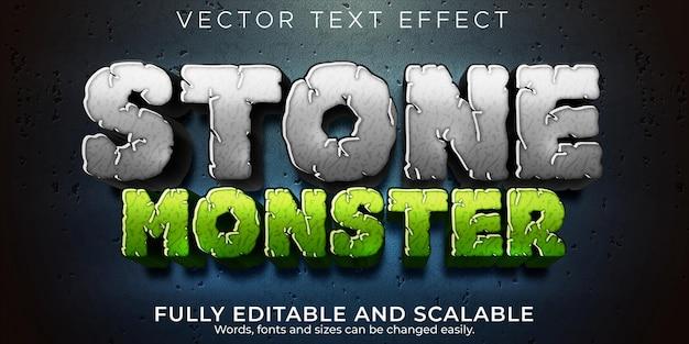 Efecto de texto de piedra, rock editable y estilo de texto de monstruo