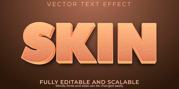 Efecto de texto de piel, estilo de texto editable humano y de dibujos animados