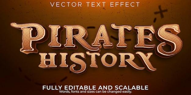 Efecto de texto de piratas, barco editable y estilo de texto de aventura.
