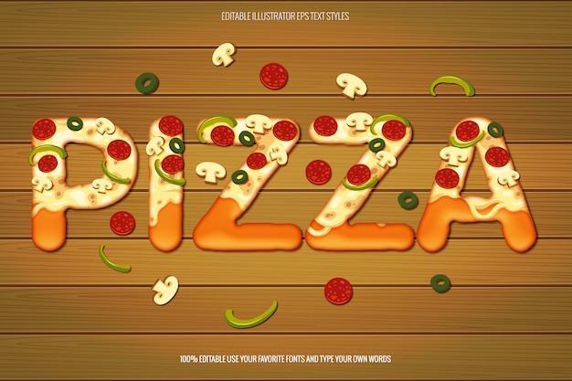 Efecto de texto de pizza, efecto de texto de pizza