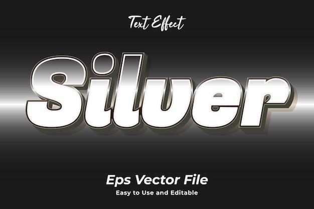 Efecto de texto plata fácil de usar y editar vector de alta calidad