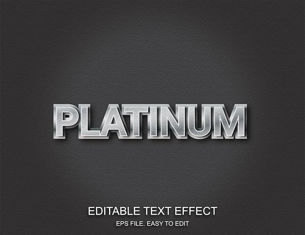 Efecto de texto de plata platino