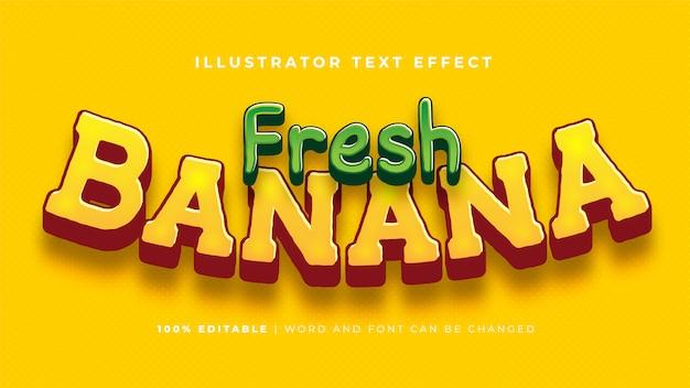 Efecto de texto de plátano fresco