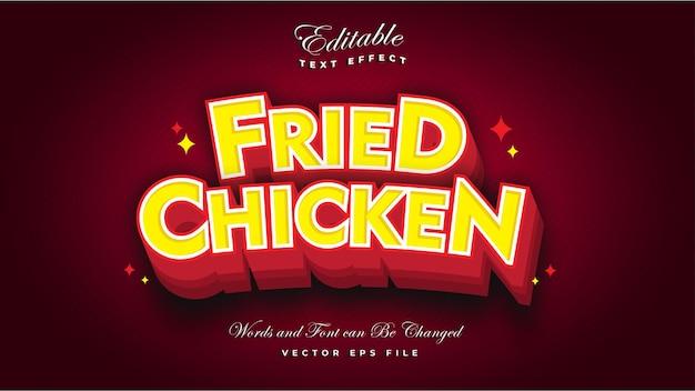 Efecto de texto de pollo frito