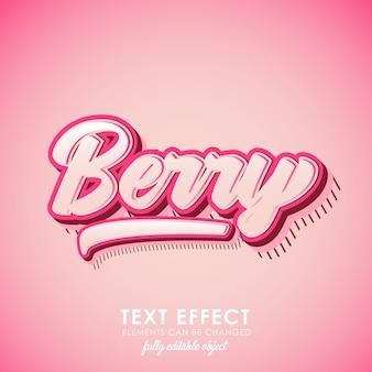 Efecto de texto premium de letra berry con tema rosa y diseño y patrón 3d