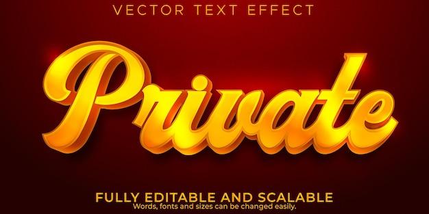 Efecto de texto privado dorado, estilo de texto elegante y brillante editable