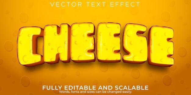 Efecto de texto de queso comida editable y estilo de texto fresco