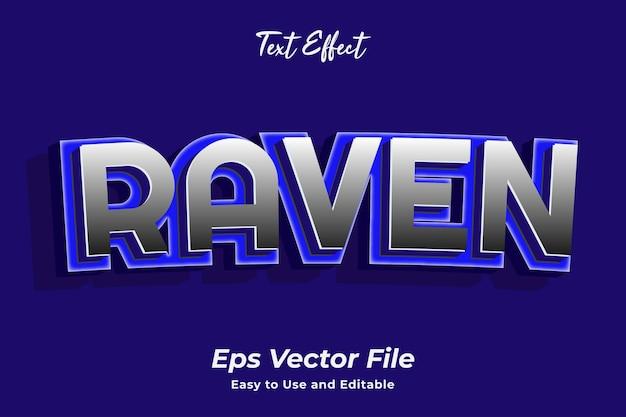 Efecto de texto raven editable y fácil de usar vector premium
